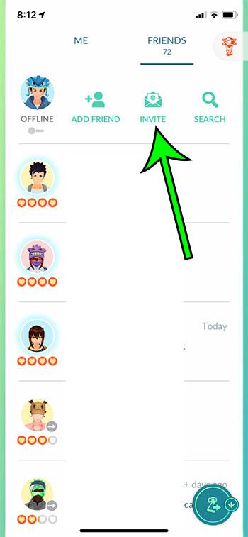 select the Invite button
