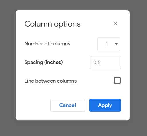 how to change column settings in Google Docs