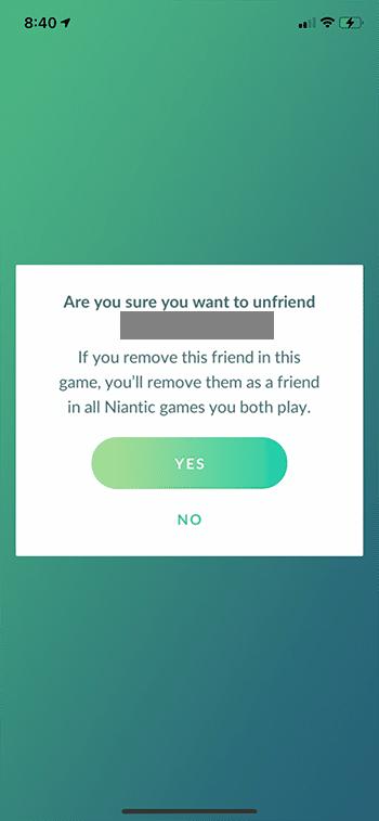 how to unfriend someone in Pokemon Go
