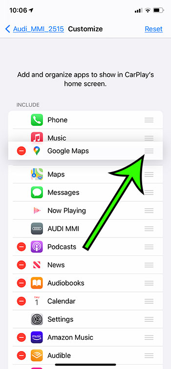 how to rearrange CarPlay apps on an iPhone 11