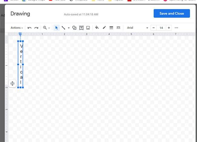 Google Docs vertical text