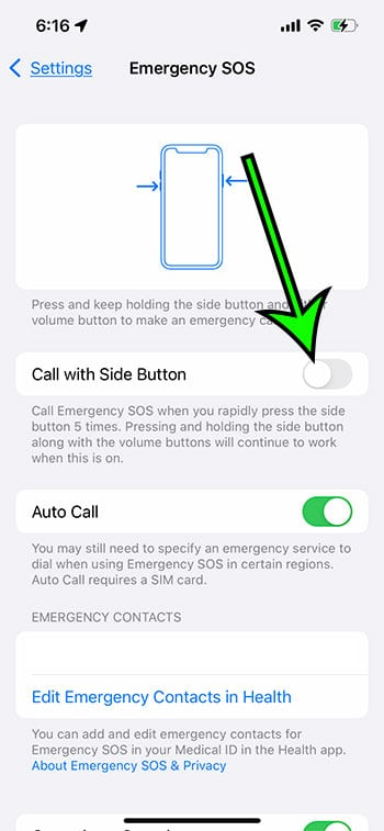 how to disable emergency call with iPhone side button 5 times