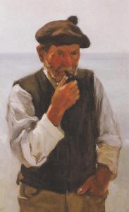 Pescatore Ligure tela di Evasio Montanella del 1928