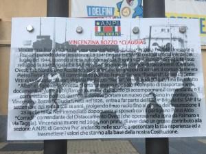 Il pannello informativo in Piazzale Vincenzina Bozzo
