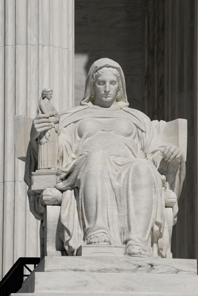 Contemplation of Justice, statue by James Earle Fraser at the U.S. Supreme Court (exterior) - photo by Steve Petteway