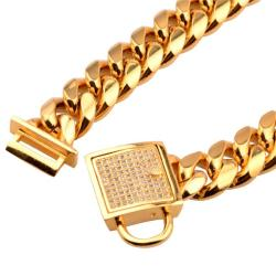 Pad Lock Gold Cuban Link Dog Chain