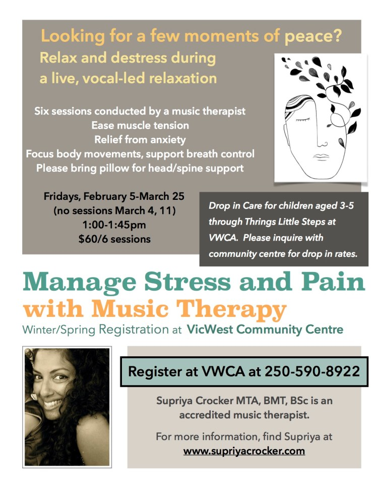 Music Therapy Poster for Manage Pain and Anxiety