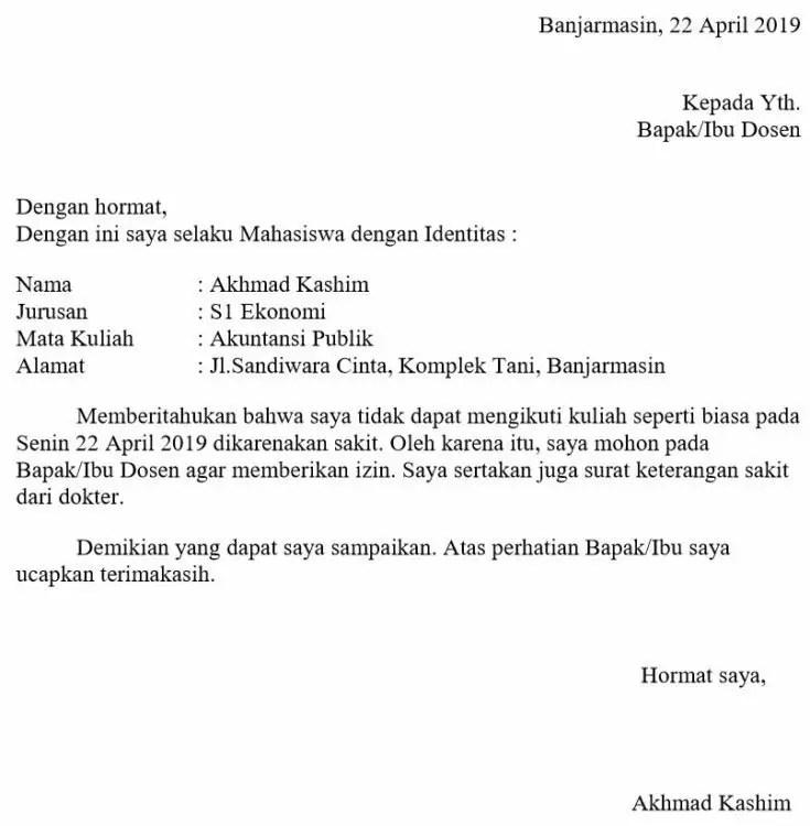1. Contoh Surat Izin Tidak Masuk Kuliah