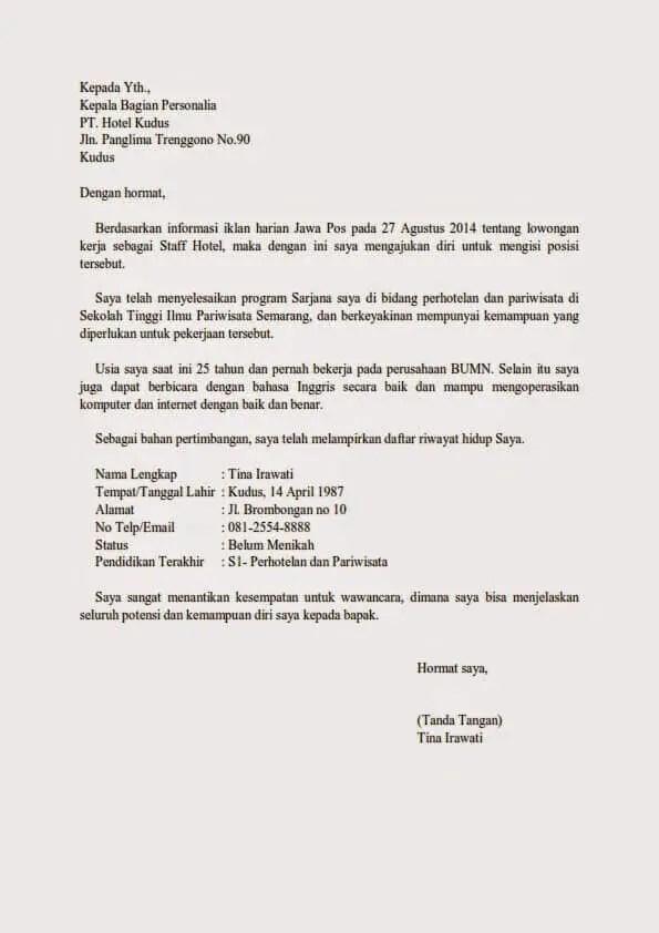 12. Contoh Surat Lamaran Pekerjaan Di Hotel