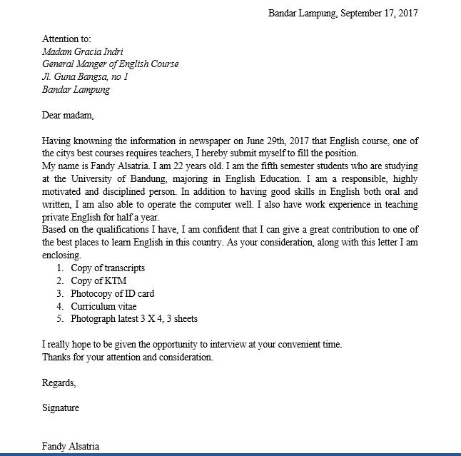 14. Contoh Surat Lamaran Pekerjaan Guru Bahasa Inggris