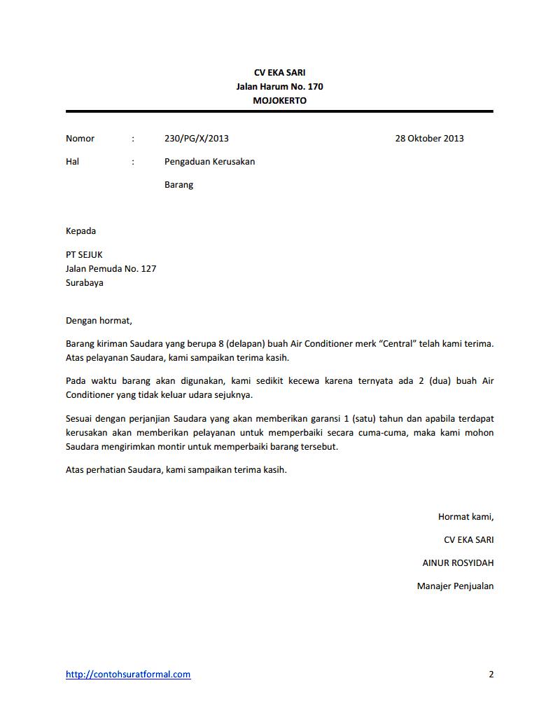 15. Contoh Surat Niaga Penolakan Pesanan