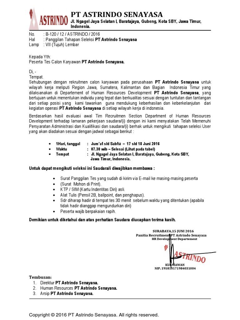2. Contoh Surat Panggilan Kerja Perusahaan