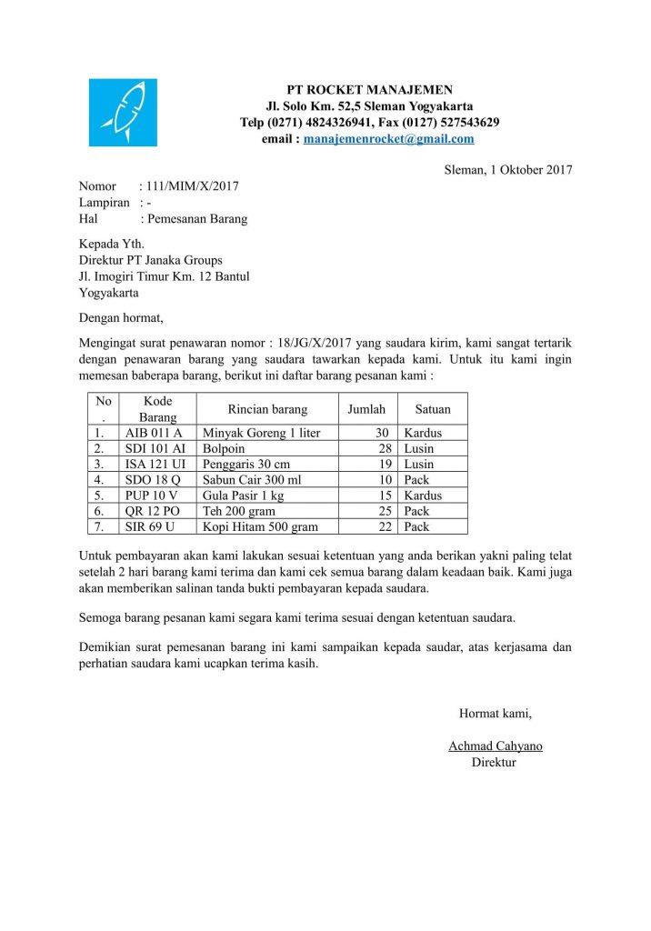 2. Contoh Surat Pesanan Barang Elektronik Rumah Tangga