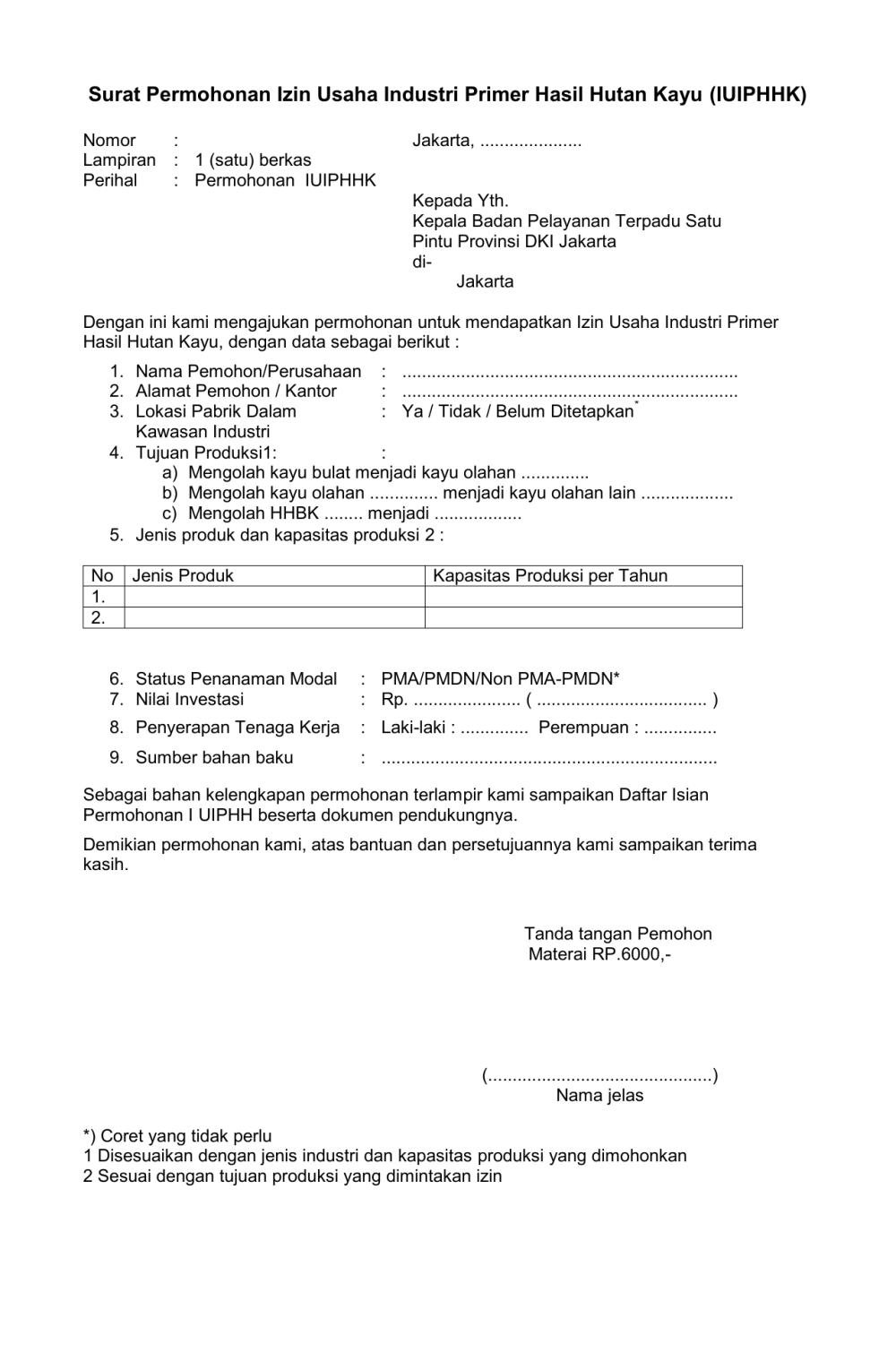 6. Contoh Surat Permohonan Izin Usaha