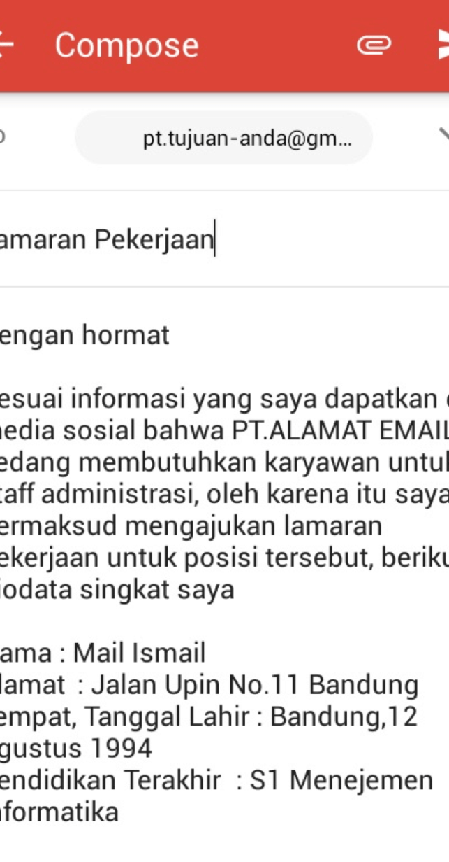 7. Contoh Surat Lamaran Pekerjaan Via Email