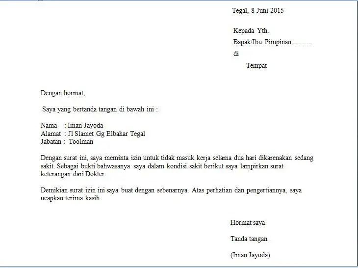 8. Contoh Surat Permohonan Izin Kerja
