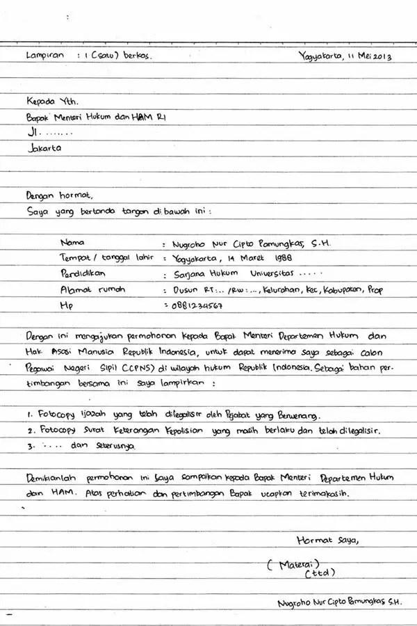 9. Contoh Surat Lamaran Pekerjaan Tulis Tangan