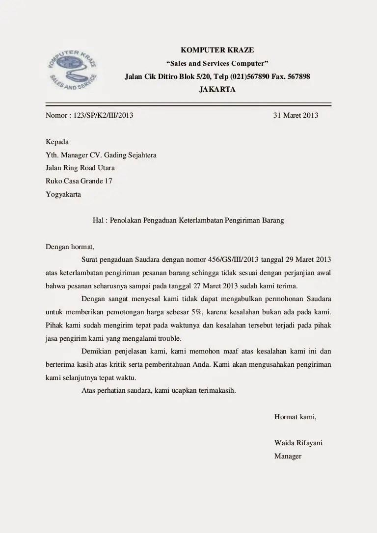 Contoh Surat Niaga Konfirmasi Pemesanan