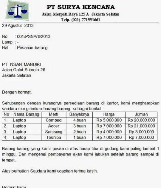 16 Contoh Surat Pemesanan Barang Elektronik Atk Sembako Contoh Surat