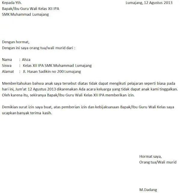 13. Contoh Surat Tidak Masuk Sekolah Singkat Dan Benar