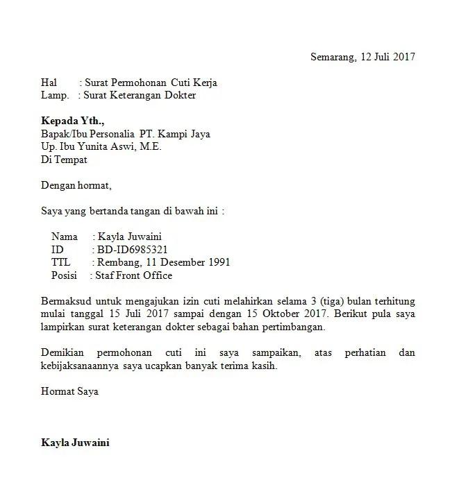15. Contoh Surat Izin Cuti Melahirkan PNS