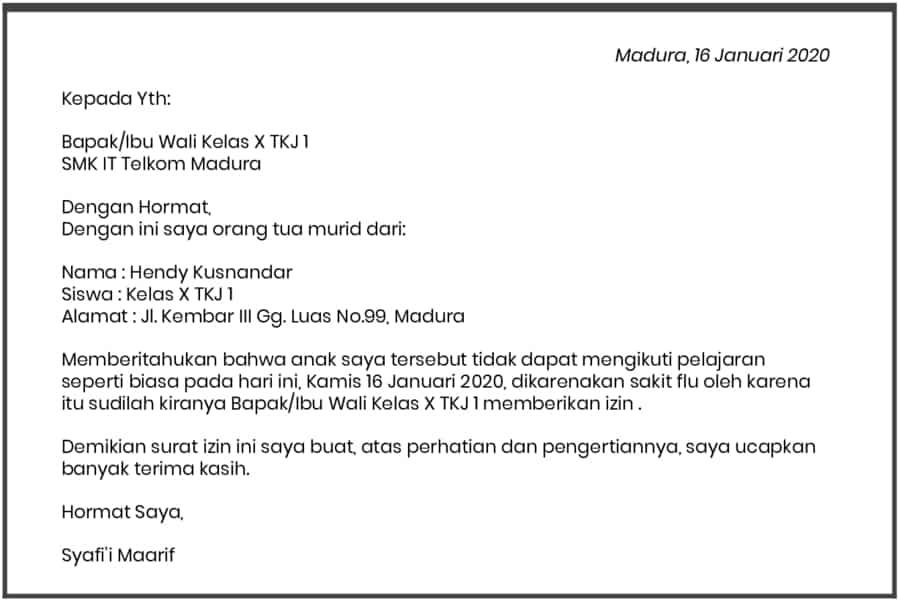 16. Contoh Format Surat Izin Tidak Masuk Sekolah
