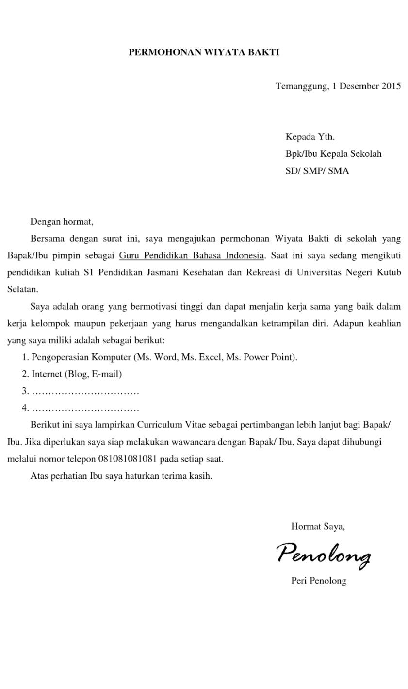 2. Contoh Surat Lamaran Kerja Guru Dalam Bahasa Inggris