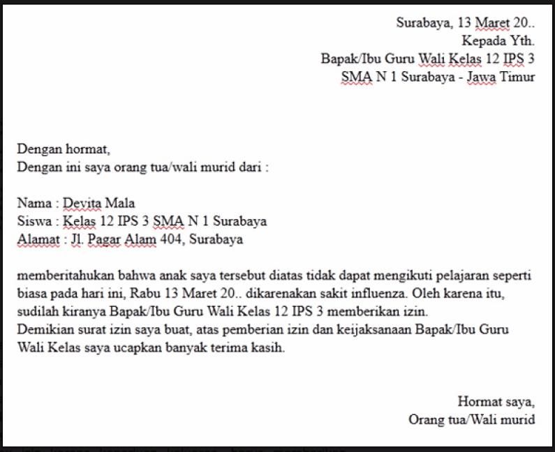 3. Contoh Surat Izin Tidak Masuk Sekolah Karena Pergi