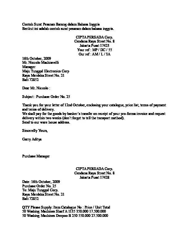3. Contoh Surat Pemesanan Barang Dalam Bahasa Inggris Sebagai Balasan Surat Penawaran