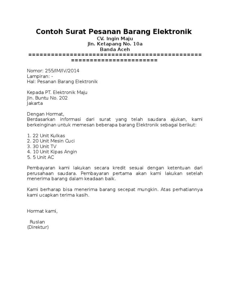 4. Contoh Surat Pemesanan Barang Elektronik
