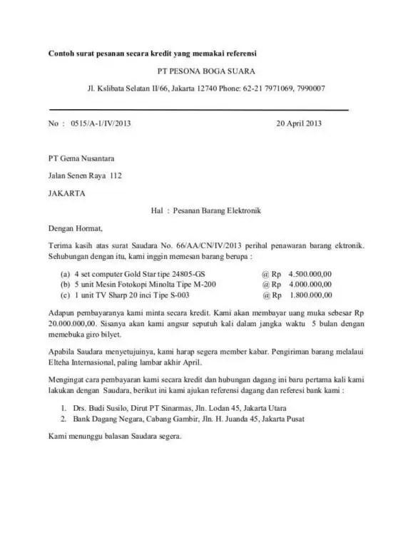 5. Contoh Surat Pemesanan Barang ATK