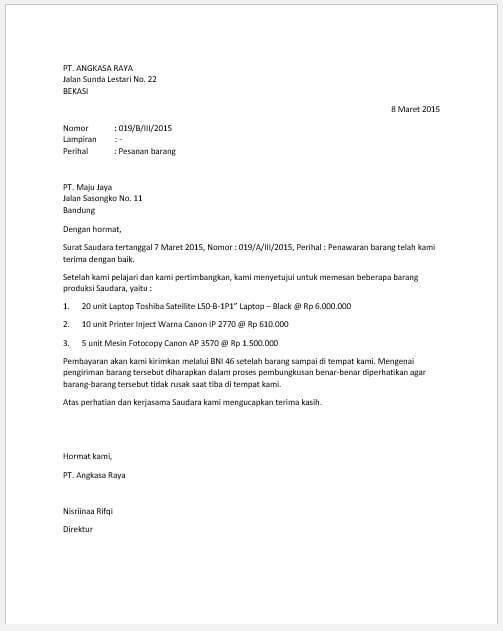 7. Contoh Surat Pemesanan Barang Bentuk Semi Block Style