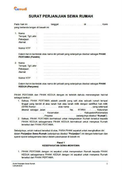 10. Contoh Surat Perjanjian Sewa Menyewa