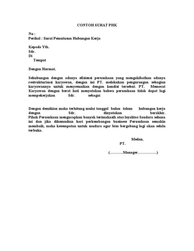 11. Contoh Surat Penonaktifan Karyawan