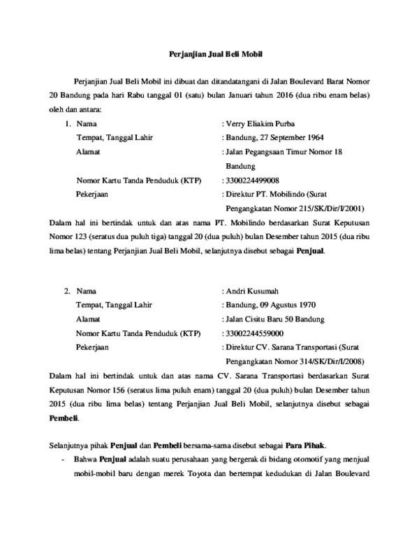 13. Contoh Perjanjian Jual Beli Mobil