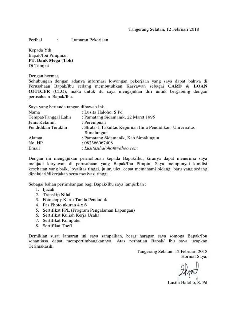 13. Contoh Surat Lamaran Kerja Di Bank