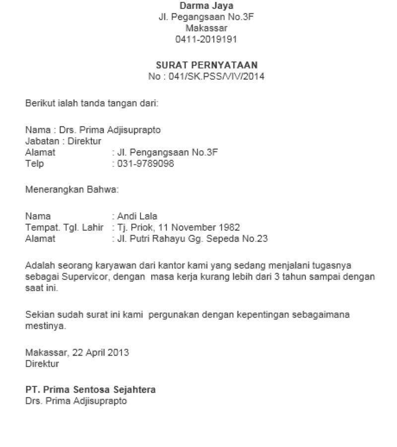 15. Contoh Surat Pernyataan Janji Pribadi
