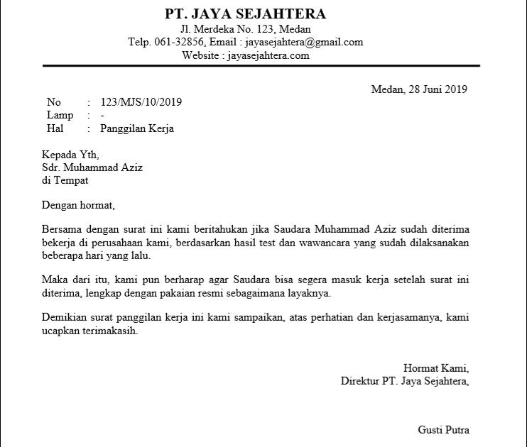 2. Contoh Surat Panggilan Kerja