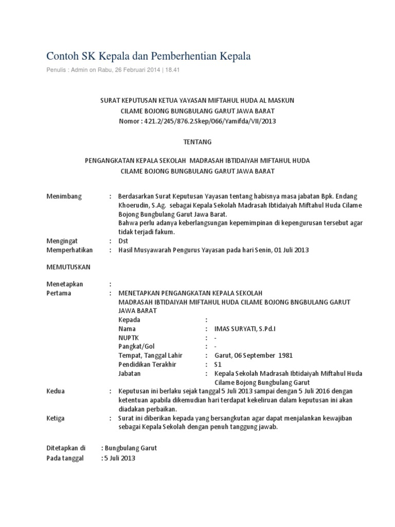 5. Contoh Surat Pemecatan Guru Dari Sekolah