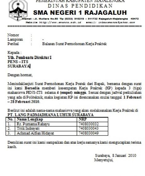8. Contoh Surat Balasan PKL