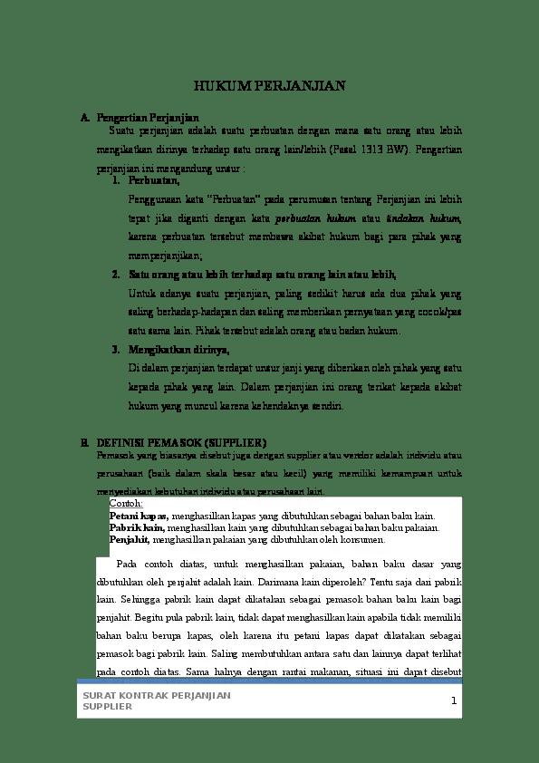 8. Contoh Surat Perjanjian Kerjasama Supplier