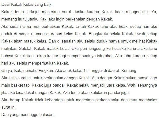 1. Contoh Surat Cinta Lucu Untuk Kakak Senior