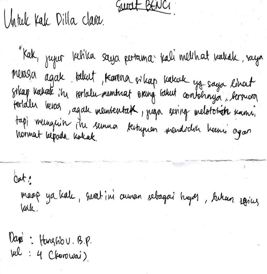 1. Contoh Surat Cinta Untuk Kakak OSIS