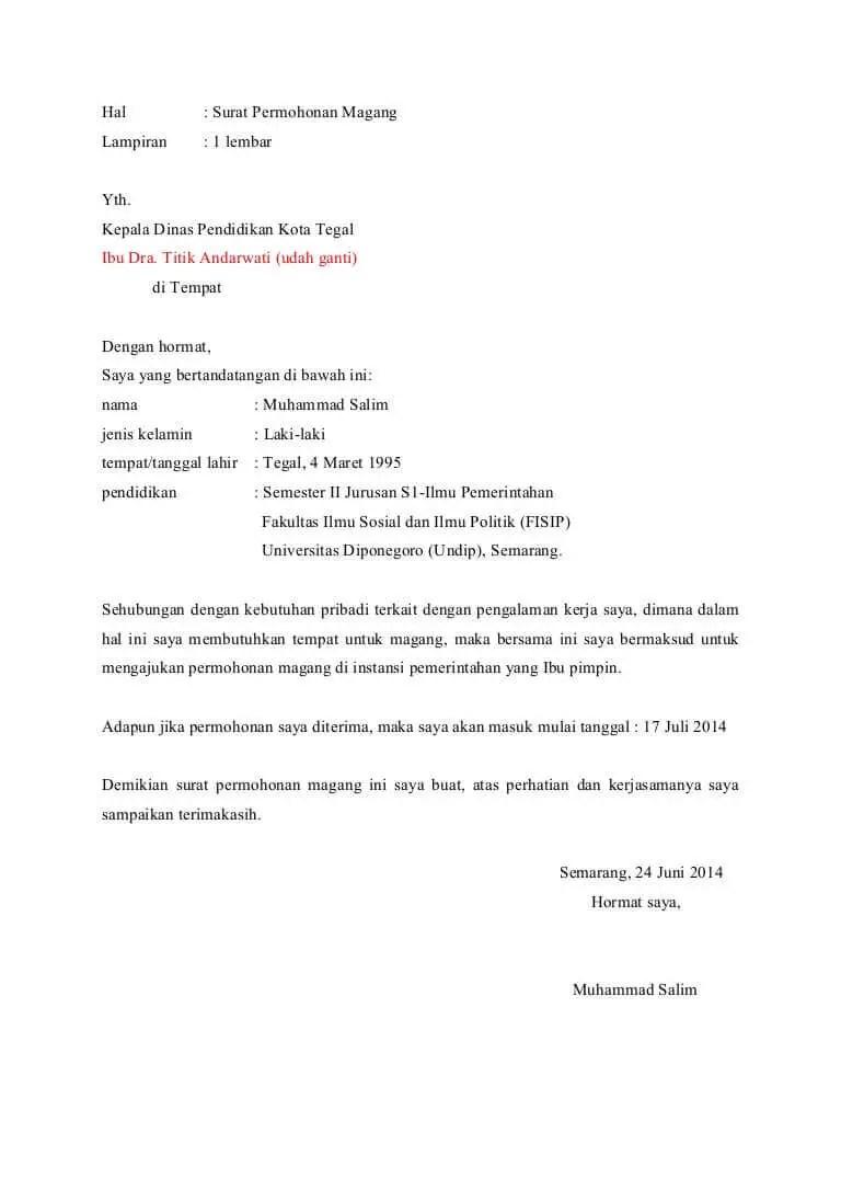 1. Contoh Surat Permohonan Magang Dari Kampus