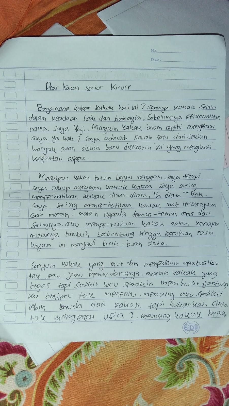 2. Contoh Surat Cinta Untuk OSIS Saat MOS