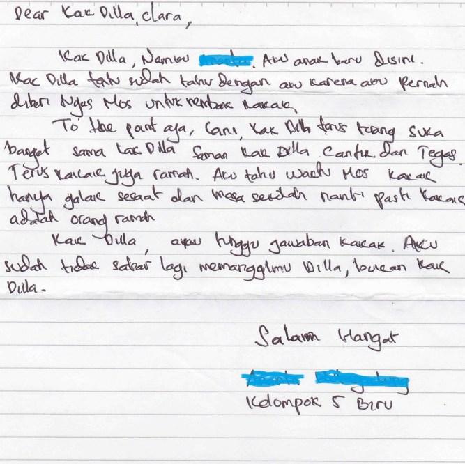 4. Contoh Surat Cinta Singkat Untuk Panitia Ospek
