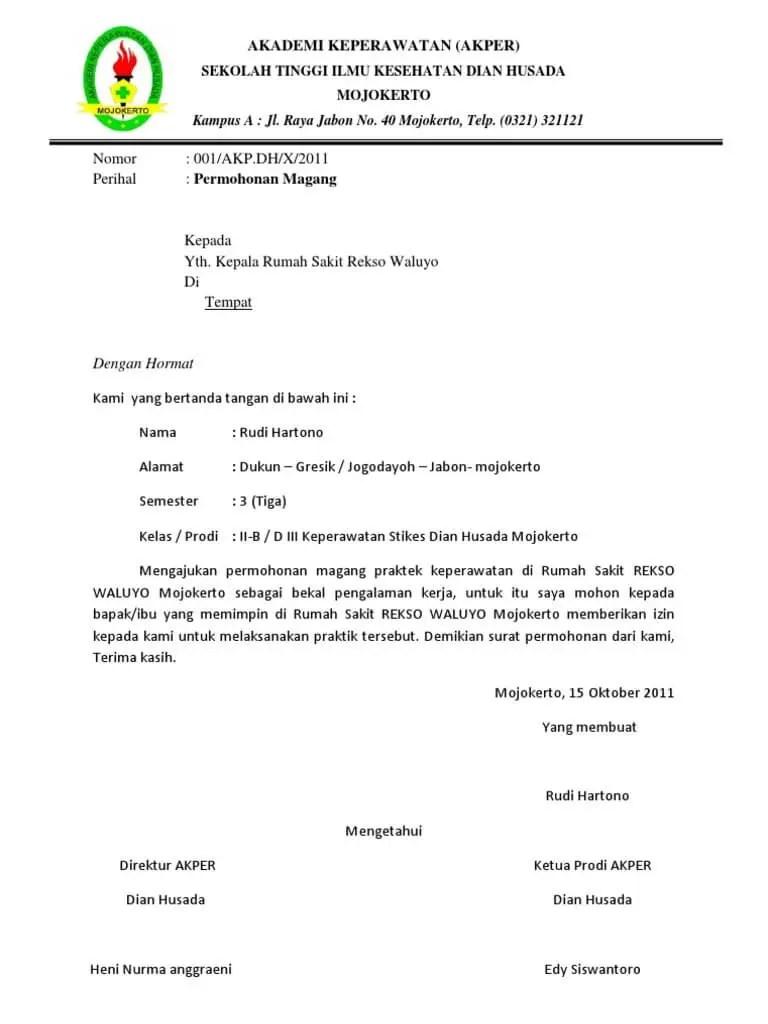 4. Contoh Surat Permohonan Magang Bidan