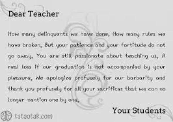 5. Contoh Surat Bahasa Inggris Untuk Guru Dan Artinya
