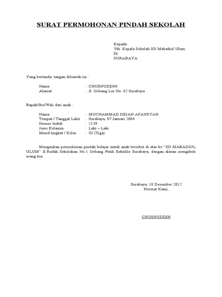 2. Contoh Surat Permohonan Pindah Sekolah Dari Siswa