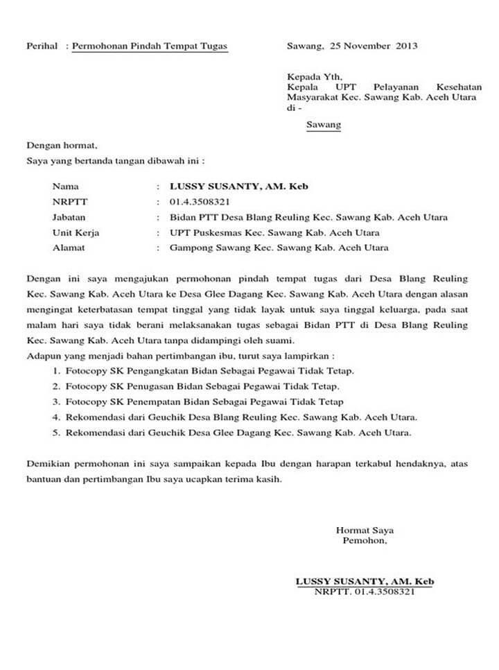 4. Contoh Surat Permohonan Pindah Tugas PNS Dari Kabupaten Ke Provinsi